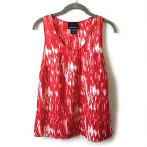 Cynthia Rowley Red & white Tie die racer-back top.